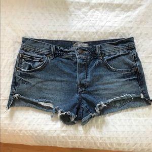 FP Low-Rise Button-Fly Cutoff Denim Shorts
